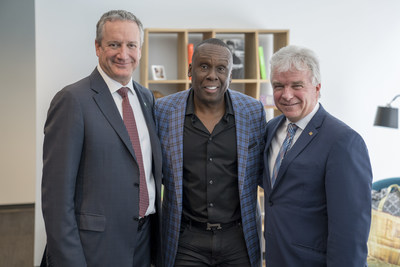 Richard Payette, President and CEO, Manulife Quebec, Olympic Gold Medalist Bruny Surin and Guy Couture, Vice President, Insurance, Manulife Quebec joined forces to discuss the importance of living a healthy life and staying motivated today at Manulife's Quebec head office, Maison Manuvie. (CNW Group/Manulife Financial Corporation)