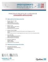 Investissements routiers 2018-2020 - Principaux projets de la région de Chaudière-Appalaches (Groupe CNW/Cabinet de la ministre déléguée aux transports)