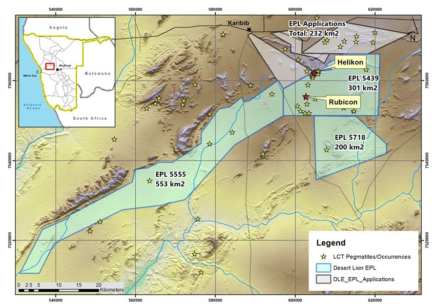 Figure 1  - Location of EPL 5555 and 5718 (CNW Group/Desert Lion Energy)