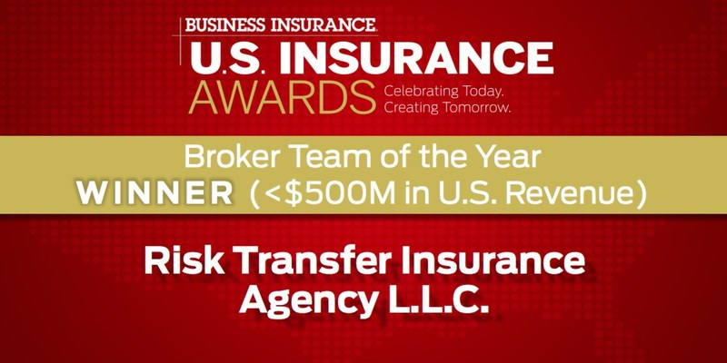 "Risk Transfer Insurance Agency LLC. is Honored as US Insurance Awards ""Broker Team of the Year"" #USInsAwards, #BusinessInsurance, #RiskTransferInsuranceAgency, NAPEO, AmericanStaffingAssociation, ASA, ASGroup, FAPEO, NJSA, CSP, BrokerTeamOfTheYear, I3Analytics, RiskAware"