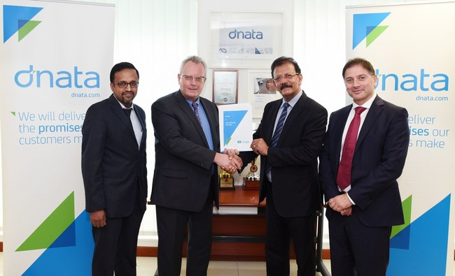 LTR: Ashok Rajan - SVP & Head of Airline Cargo Services, IBS; Bernd Struck - SVP, UAE Cargo & DWC Airlines Services, dnata; V K Mathews - Executive Chairman of the IBS Group; Rosario Marino - SVP, International Airport Operations, dnata