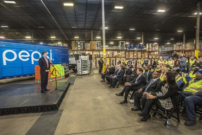 Al Carey, CEO PepsiCo North America, speaks to a group of elected officials, City Colleges of Chicago leadership and students, and PepsiCo associates at a Pepsi facility to announce the PepsiCo & City Colleges of Chicago Jobs Program.