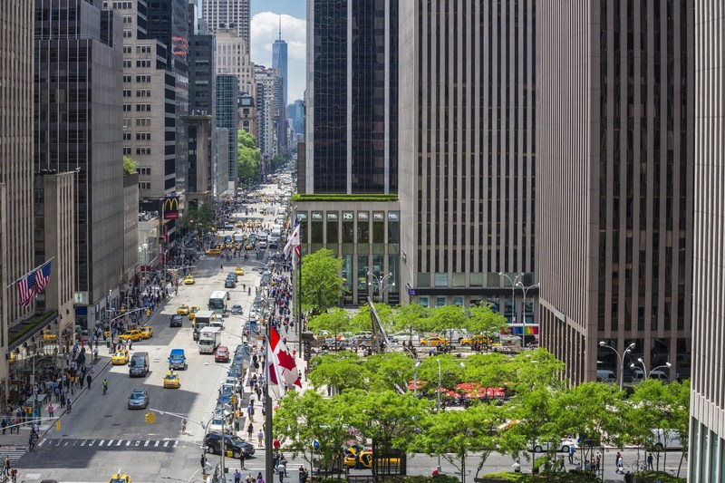 A view of Sixth Avenue in Midtown Manhattan, the most popular office-space location for New York's largest companies and organizations for the second consecutive year, according to the latest Avenue Report, a publication of the Avenue of the Americas Association and member company Rockefeller Group, based on an analysis of CoStar data. For the full report, visit: https://www.rockefellergroup.com/wp-content/uploads/2018/03/Avenue-Report-F2018.pdf. Photo copyright: Alan Schindler Photography