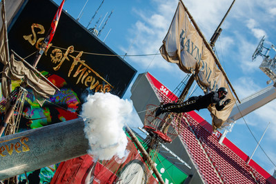 """Xbox and Human Cannonball Dave """"The Bullet"""" Smith break a GUINNESS WORLD RECORDS title for Greatest Distance Travelled as a Human Cannonball for the Xbox upcoming launch of """"Sea of Thieves"""" at Raymond James Stadium on Tuesday, March 13, 2018 in Tampa, Florida (Casey Brooke Lawson/AP Images for Xbox)"""