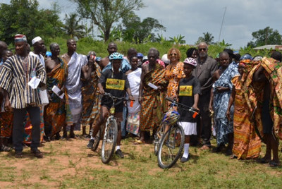 ABCF Board Chair A.Bruce Crawley(fourth from right) and Executive Director Patricia Marshall Harris(sixth from right) join Ashanti chiefs, and other guests, as they recently celebrated the students who received free bamboo bikes made by the Ghana Bamboo Bikes Initiative, in Ejisu, Ashanti Region, Ghana.
