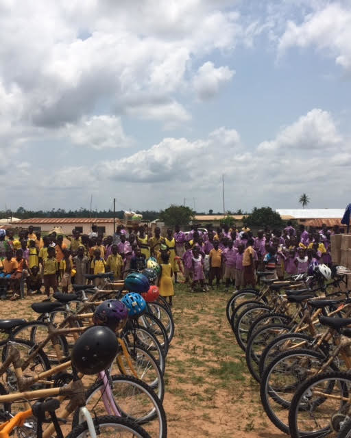 The attention of more than 300 onlookers was captured by 39 of the 50 Ghanaian-made bamboo bikes that were presented to under-resourced students and teachers at the African Bicycle Contribution Foundation's recent 7th bike distribution event, in Ejisu, Ghana