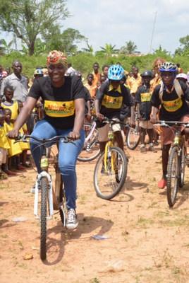 Ghana Bamboo Bikes Initiative CEO Bernice Dapaah(left) recently showed two students how bike riding is actually done in Ejisu, Ghana.