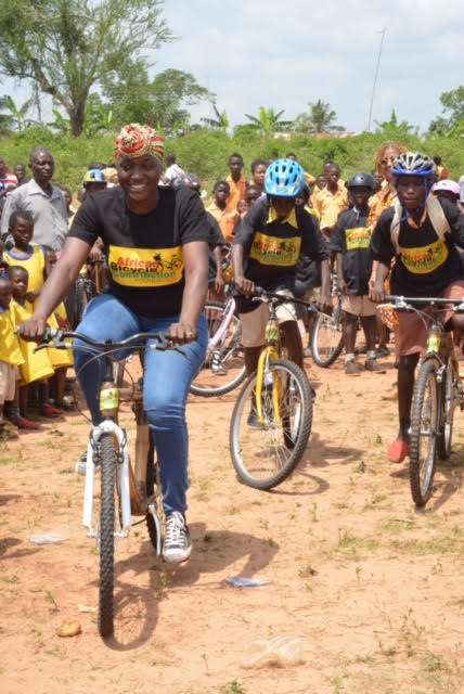 Ghana Bamboo Bikes Initiative CEO Bernice Dapaah(left) recently showed two students how bike riding is actually done in Ejisu, Ghana.