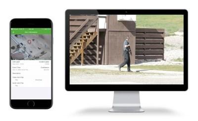 Gunshot detection alert on app and live video on UI