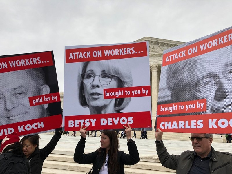Education Secretary Betsy DeVos has made headlines over the past year for her attacks on teachers and students. Now she and her management team are attacking the public sector employees who work at the Department of Education. They have illegally trashed the collective bargaining agreement negotiated between the American Federation of Government Employees and prior management, instead replacing it with a set of rules and instructions that gut employee and union rights. Photo: Caitlin Emma