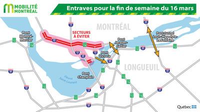 Entraves pour la fin de semaine du 16 mars (Groupe CNW/Ministère des Transports, de la Mobilité durable et de l'Électrification des transports)