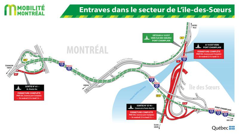 Entraves dans le secteur de L'île des Sœurs (Groupe CNW/Ministère des Transports, de la Mobilité durable et de l'Électrification des transports)