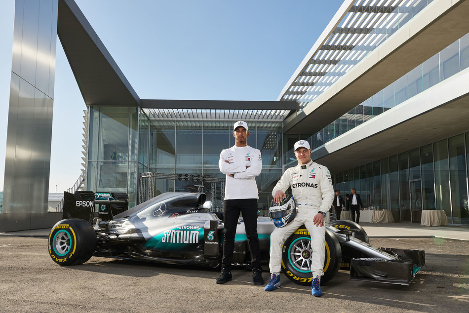 Lewis Hamilton and Valtteri Bottas joined a host of guests at the official preview of PETRONAS' Global Research & Technology centre in Turin, Italy (PRNewsfoto/PETRONAS)