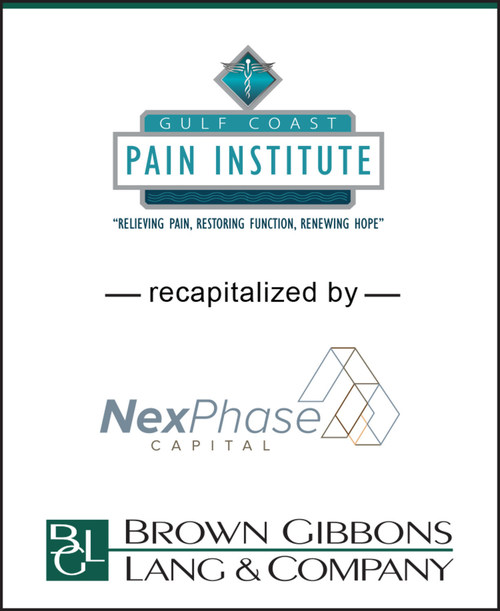 BGL announces the recapitalization of Gulf Coast Pain Institute, and its various affiliated entities, by NexPhase Capital, LP. BGL's Healthcare & Life Sciences team served as the exclusive financial advisor to GCPI in the transaction. The transaction builds upon BGL's market leadership position in advising physician practices and related ancillary services. GCPI represents the third transaction for BGL's Healthcare & Life Sciences in the pain management specialty in less than two years.