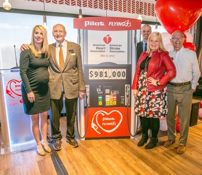 Pilot Flying J Founder and Chairman Jim Haslam and Ken Parent, President of Pilot Flying J, announce the company's $981,000 donation to the American Heart Association (from left to right: AHA Metro Knoxville and Tri-Cities Executive Director Beverly Miller; Pilot Flying J Founder and Chairman Jim Haslam; AHA Senior Vice President Aaron Bishop; AHA National Director for Field Corporate Relations Lauren Lemmons; and Pilot Flying J President Ken Parent).