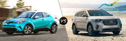 The 2018 Toyota C-HR is available at Arlington Toyota, and is compared against the 2018 Hyundai Santa Fe.