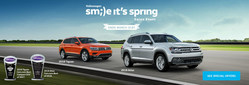 In homage to the changing of the seasons, Pacific Volkswagen is offering many great deals for the Smile It's Spring Sales Event, including $1,000 bonus cash for the 2018 VW Tiguan and Atlas.