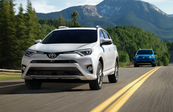front view of the Toyota RAV4, which can be bought entirely online through Roberts Toyota.