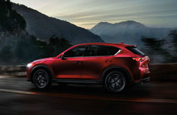 side view of the Mazda CX-5, on which Serra Mazda is currently offering special financing and leasing
