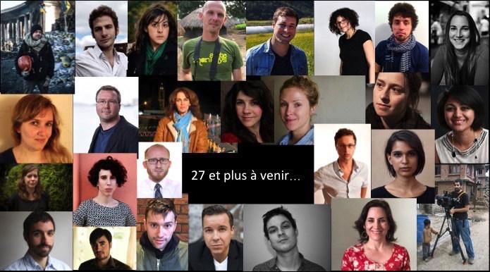Photo composite de 27 lauréats des bourses FFF 2011-2017 (Groupe CNW/Le Forum du journalisme canadien sur la violence et le traumatisme)