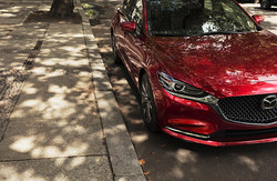 front view of the 2018 Mazda6, which will be available in April of 2018