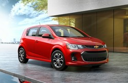 The 2018 Chevy Sonic is available in hatchback configurations (pictured here) and in sedan configurations.