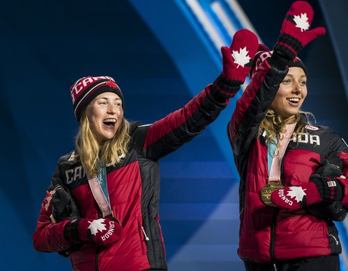 17-year-old Natalie Wilkie (right) is a Paralympic champion thanks to her gold medal in the 7.5KM women's standing cross-country race. She was joined on the podium by teammate Emily Young (left), a bronze medallist for her first Paralympic medal (CNW Group/Canadian Paralympic Committee (Sponsorships))