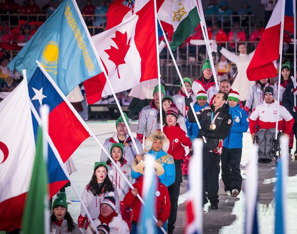 With Para nordic skier Mark Arendz representing the Canadian Paralympic Team as flag bearer at the Closing Ceremony, Canada officially concluded a record-breaking nine days of competition with 28 medals won at the PyeongChang 2018 Paralympic Winter Games. (CNW Group/Canadian Paralympic Committee (Sponsorships))