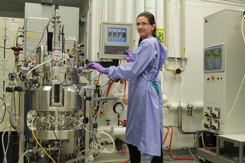 An NRC biomanufacturing expert grows HEK293 cells inside a 60 L stainless steel bioreactor. (CNW Group/National Research Council Canada)