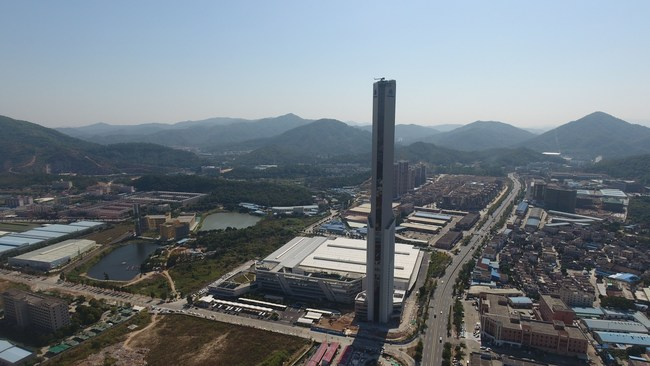 thyssenkrupp's test tower in Zhongshan, China