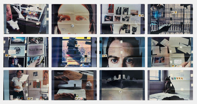 Fifty Minutes Grid, 2006, Twelve C-prints, tape, postage, ink, 30.5 x 44.5 cm each; 94 x 137.2 cm overall, Moyra Davey (CNW Group/Scotiabank)
