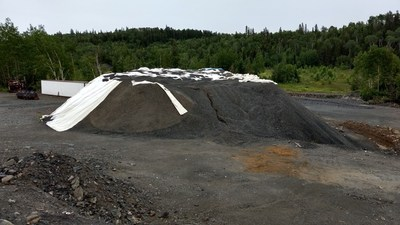 Image 1. Pile of crushed waste rock material at First Cobalt mill site. (CNW Group/First Cobalt Corp.)
