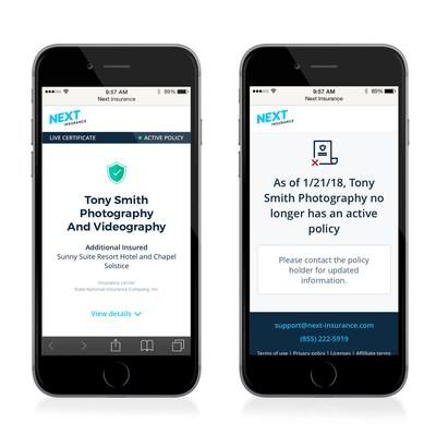 Mobile screenshots of Next Insurance Live Certificate showing an active policy and an inactive policy.