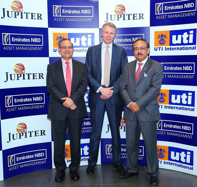 Left to right: Leo Puri, Managing Director of UTI Asset Management Co. Ltd., Maarten Slendebroek, Chief Executive Officer of Jupiter Asset Management, Suvo Sarkar, Senior Executive Vice President, Head of Retail Banking and Wealth Management, Emirates NBD Group (PRNewsfoto/Jupiter Asset Management)