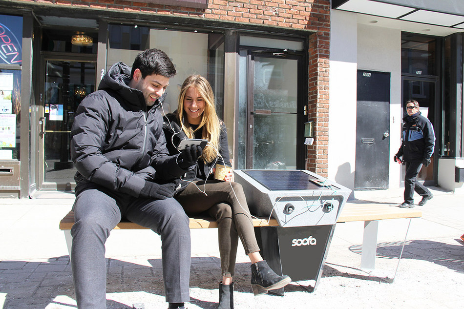 Eight Soofa units have been added to Newmarket's downtown to help enrich public spaces through technology. (CNW Group/Town of Newmarket)