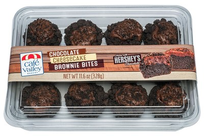 Café Valley Bakery introduces new Chocolate Cheesecake Brownie Bites made with Hershey's Chocolate.