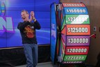 Christopher Ouellette of Harrow celebrates after spinning THE BIG SPIN Wheel at the OLG Prize Centre in Toronto to win $300,000. Ouellette won a top prize with OLG's INSTANT game – THE BIG SPIN. (CNW Group/OLG Winners)