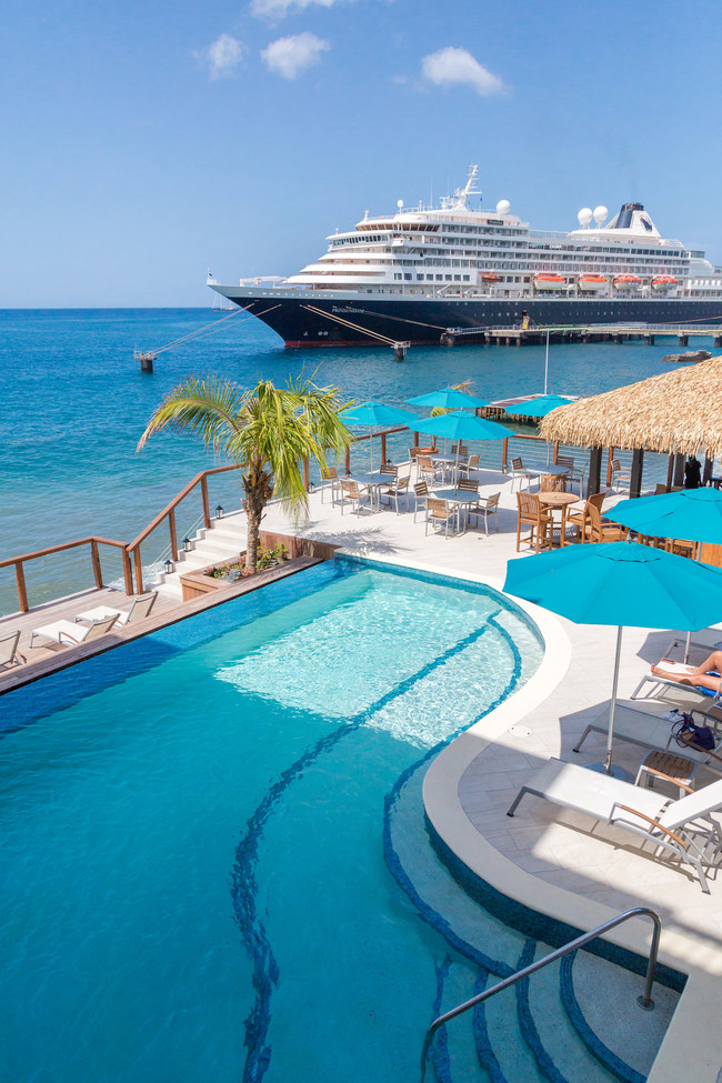 The Fort Young Hotel in Roseau, Dominica has re-opened more than half of its rooms while many cruise lines are resuming visits to the country's two cruise ship berths. Photo Credit: The Discover Dominica Authority