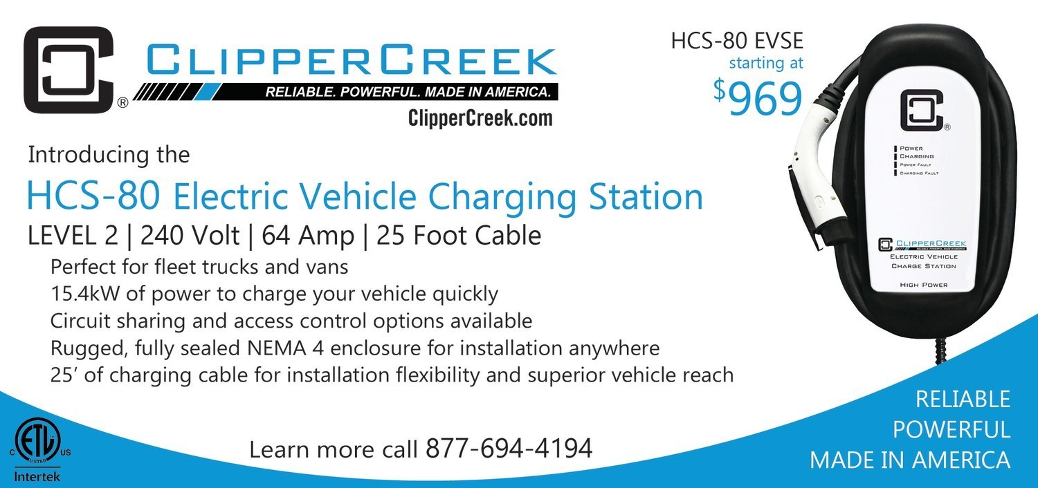The HCS-80 is a Level 2, 240 Volt electric vehicle charging station. It offers a 25' charging cable, a fully sealed NEMA 4 enclosure, and is ETL listed. It is offered at just $969.