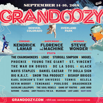Grandoozy Unveils 2018 Lineup With Kendrick Lamar Headlining Friday, Florence + The Machine Headlining Saturday And Stevie Wonder Headlining Sunday