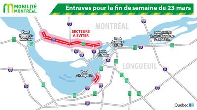 Entraves pour la fin de semaine du 23 mars (Groupe CNW/Ministère des Transports, de la Mobilité durable et de l