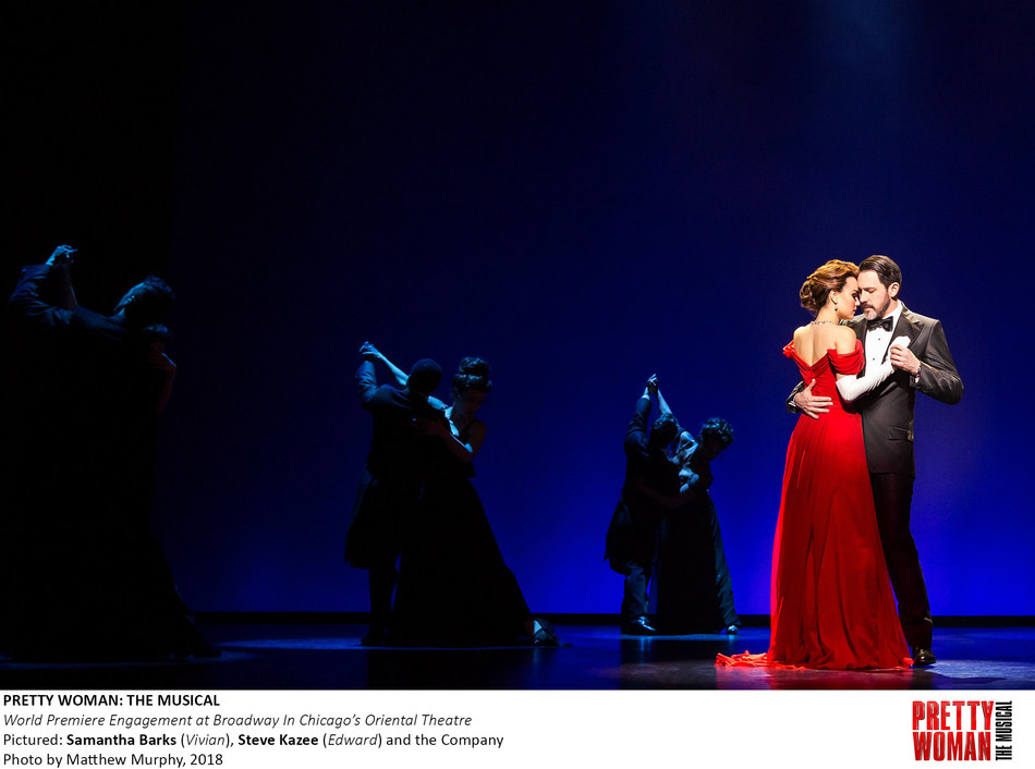 PRETTY WOMAN: THE MUSICAL - World Premiere Engagement at Broadway In Chicago's Oriental Theatre. Pictured: Samantha Barks (Vivian), Steve Kazee (Edward) and the Company   Photo by Matthew Murphy, 2018
