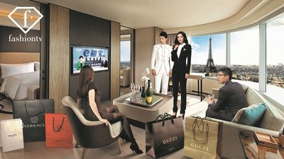 Chinese tourists relaxing in their hotel in Paris watching TV (Copyright : FashionTV) (PRNewsfoto/FashionTV)