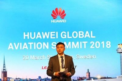 Yuan Xilin, président du secteur du transport à Huawei Enterprise BG, a prononcé une allocution lors du Sommet mondial sur l'aviation Huawei 2018 (PRNewsfoto/Huawei)