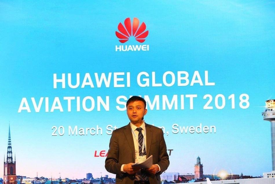 Yuan Xilin, presidente del sector de Transportación de Huawei Enterprise BG, pronunció un discurso en la Cumbre Mundial sobre Aviación de Huawei de 2018 (PRNewsfoto/Huawei)