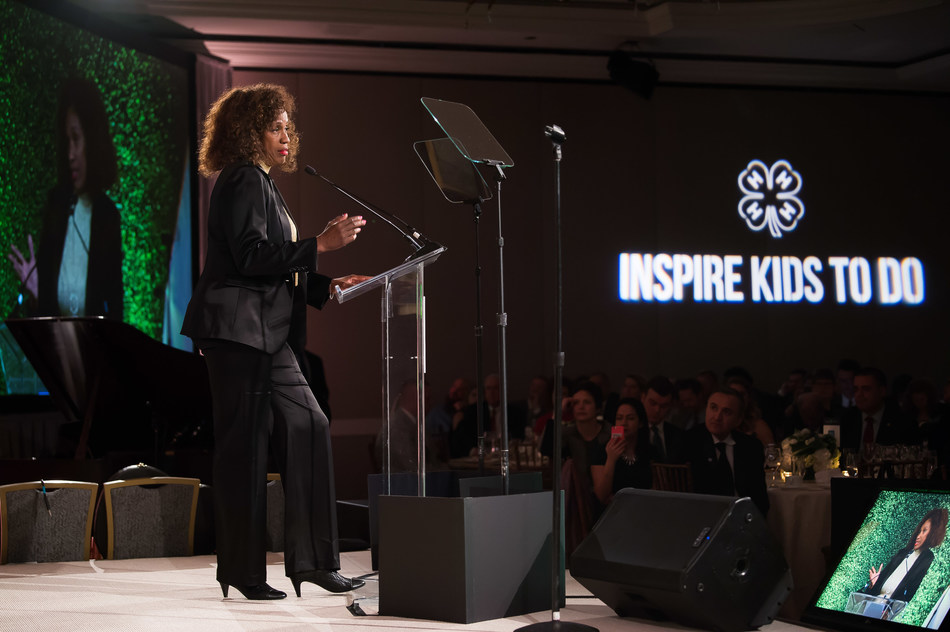 Jackie Joyner-Kersee, six-time Olympic medalist, philanthropist and youth advocate, announces a partnership with National 4-H Council to bring agriculture program learning opportunities to urban communities at the 9th annual National 4-H Council Legacy Awards on Tuesday, March 20, 2018, in Washington. (AP Images for National 4-H Council)