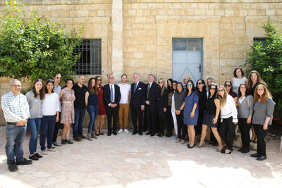 Ronald S. Lauder with the students and staff of the Lauder Employment Center. Image Courtesy of Liron Moldovan
