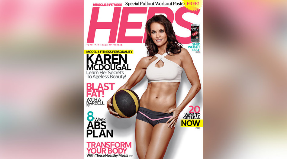 Cover of Muscle & Fitness Hers which featured Ms. McDougal in 2017.