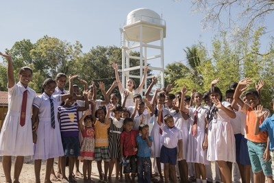 Barbara Palvin, face of Acqua di Gioia fragrance, with the local community in Sri Lanka for Acqua For Life