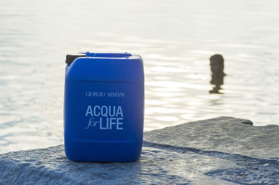 The emblematic jerrycan of Acqua for Life (PRNewsfoto/Giorgio Armani Beauty)